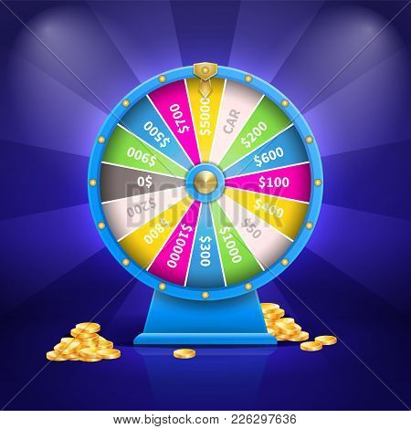 Fortune Wheel With Colorful Sectors And Number Of Sum Of Money, Golden Coins And Stripes, Poster Vec