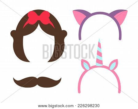 Princess Party Icons Collection, Hairstyle Of Fairy Tale Character, Unicorns Horn With Stripes And M