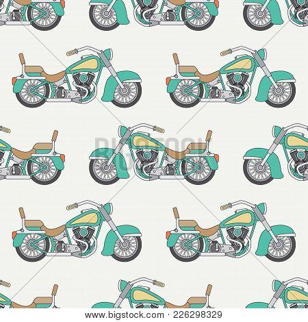 Line Flat Seamless Vector Color Pattern Motorcycle Classic. Legendary Retro. Cartoon Style. Biker. H