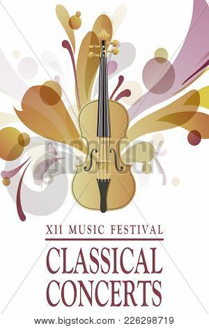 Classical Concert Poster With Viola Illustration. Classic Music Illustration.