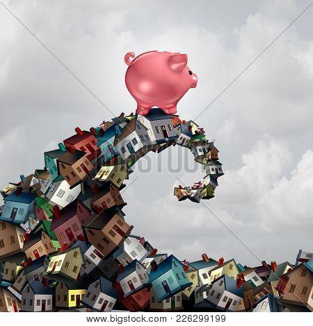 Real Estate Mortgage Lending Concept As A Piggy Bank Riding A Housing Wave As A Family Home Renovati