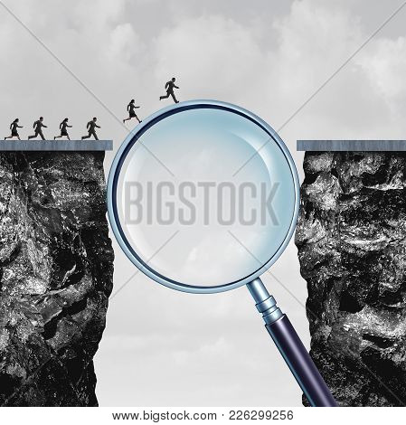 Search Solution As Business Internet Browsing Answers As A Group Of People Crossing A Cliff Helped B