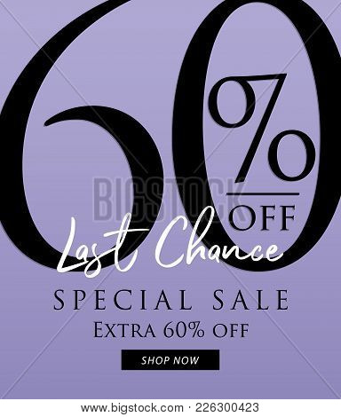 Special Sale 60 Percent Heading Design On Purple Background For Banner Or Poster. Discounts Concept.