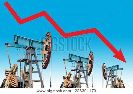 Oil Price Crisis. Oil Price Fall Graph Illustration.