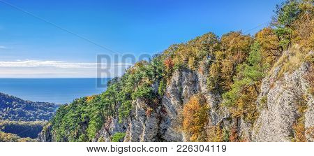 Panoramic View Of The Eagle Rocks. Sochi National Park.