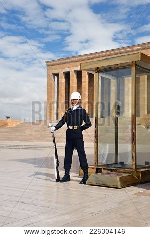 Ankara. Turkey - October 16, 2017: Ceremony Of Changing The Guard At The Mausoleum.