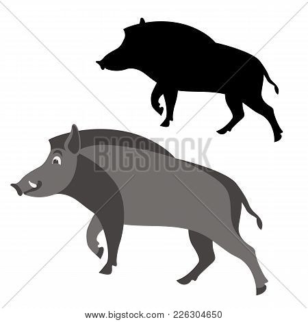 Cartoon Boar Wild Vector Illustration Flat Style  Black Silhouette