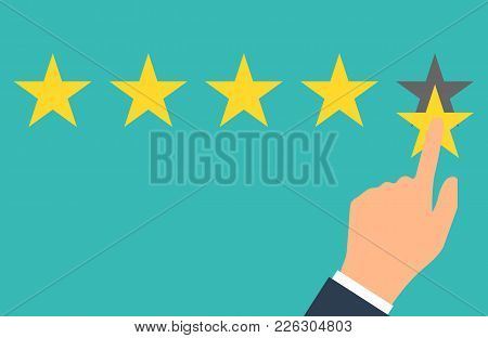 Star Rating. Five Flat Yellow Web Button Stars Ratings. Evaluation System. Positive Review. Vector I