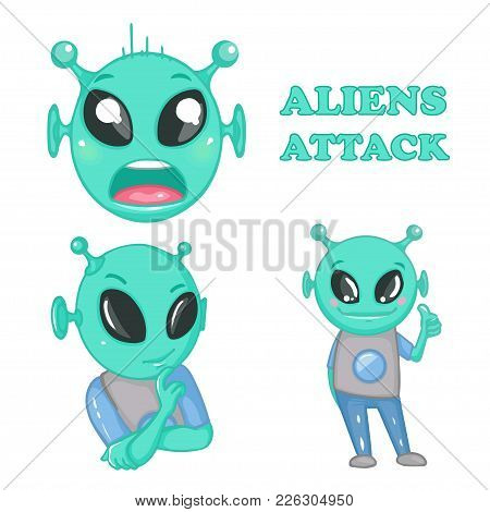 Cartoon Alien. Aliens Attack. Emotions. Cartoon Style