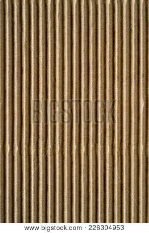Wavy Corrugated Texture Of A Cardboard Or Paper Of Brown Color For A Background Or For Wallpaper