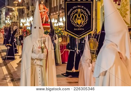 Palencia, Spain - March 24, 2016: Traditional Spanish Holy Week (semana Santa) Procession On Holy Th