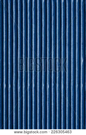 Wavy Corrugated Texture Of A Cardboard Or Paper Of Blue Color For A Background Or For Wallpaper