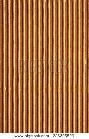 Wavy Corrugated Texture Of A Cardboard Or Paper Of Yellow Brown Color For A Background Or For Wallpa