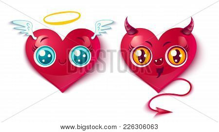 Vector Devil And Angel Hearts. Two Cute Hearts For Valentines Day In Kawaii Style. Bad And Good Hear