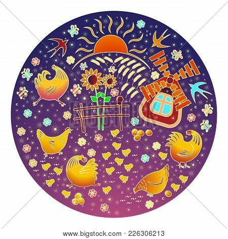 A Chicken, Bird S Farm. A Pattern In The Circle. On A Blue-red Background. Sunset Is Sunset. Mills A