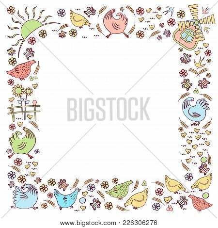 Template On The Square Of The Silhouettes Of Chickens And Roosters, Chickens, Swallows And Flowers.