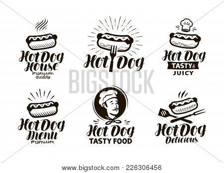 Hot Dog Logo Or Label. Fast Food, Eating Emblem. Typographic Design