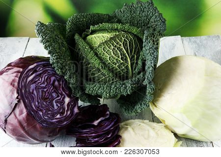 Three Fresh Organic Cabbage Heads. Antioxidant Balanced Diet Eating With Red Cabbage, White Cabbage