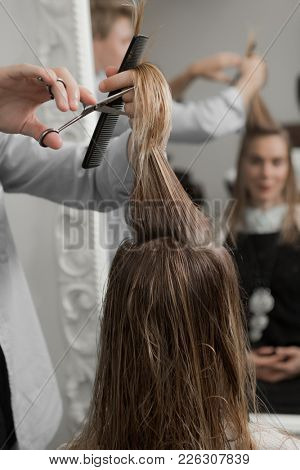 Professional hairdresser making haircut to a client with scissors in beauty saloon
