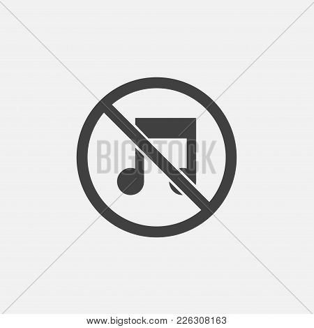No Music Icon Vector Illustration. Silent Icon Vector