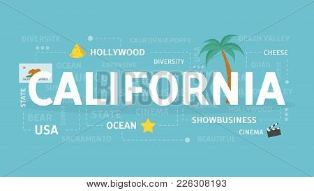 Welcome To California. Visit American State With Beach And Sea.