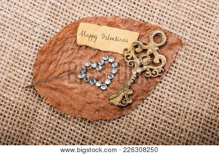 Love Concept For Valentine's Day On A Dry Leaf