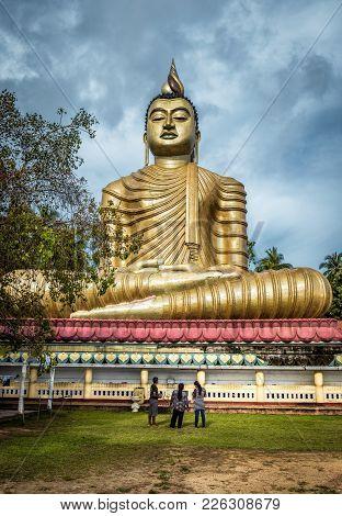 Dickwella, Sri Lanka - November 4, 2017: Big Buddha In The Wewurukannala Vihara Old Temple. A 50m-hi