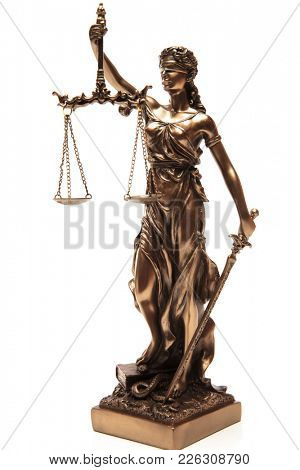 justice blind statue on a white background