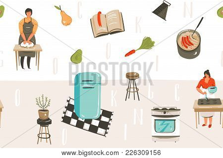 Hand Drawn Vector Abstract Modern Cartoon Cooking Time Fun Illustrations Icons Seamless Pattern With