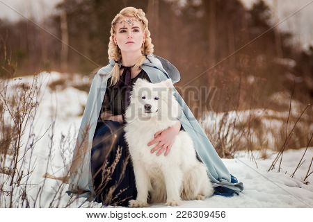 Fantasy Elf Girl In Spring Forest With White Dog Laika