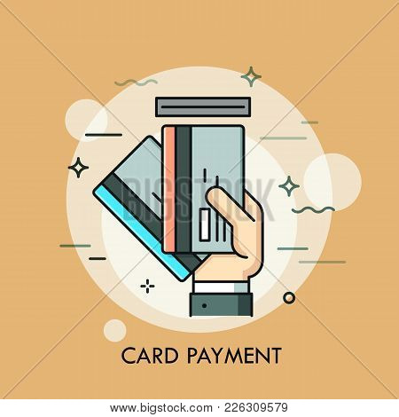Hand Inserting Credit Or Debit Card Into Slot. Payment Method, Money Withdrawal, Atm Service, Transa