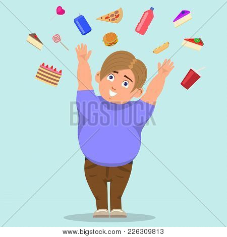 Vector Illustration Of A Cartoon Fat Boy Catching Sweets. The Concept Of Harmful Food And Childhood