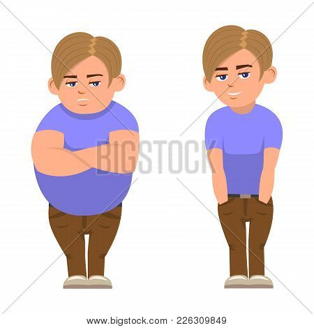 Vector Illustration Of A Cartoon Fat Full And Sports Boy. Isolated White Background. Boy Before And