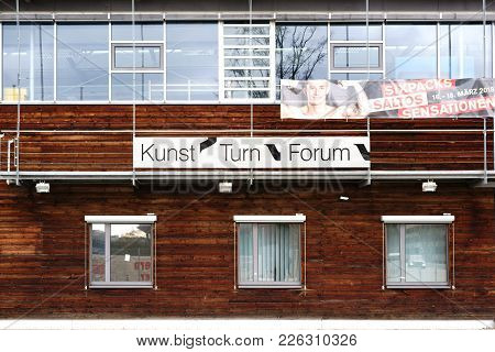 Stuttgart, Germany - February 03: The Facade Made Of Wood Panels Of The Sports Performance Center Fo