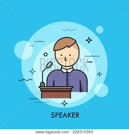 Person In Purple Shirt Standing At Lectern With Microphone And Speaking. Concept Of Speaker, Chairma
