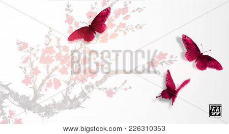 Sakura In Blossom And Three Big Red Butterflies. Traditional Oriental Ink Painting Sumi-e, U-sin, Go