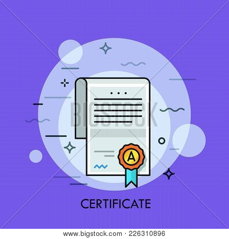 Paper Document With Text, Signature, Wafer Seal And Ribbon. Certificate Of Honor, Merit, Appreciatio