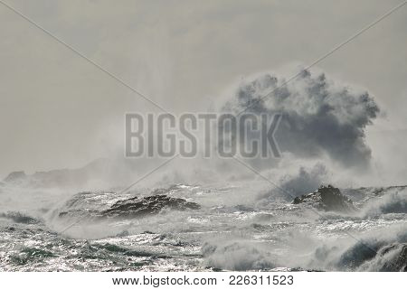 Rocky Coast With Rough Sea And Big Wave When Breaking, Telde, Gran Canaria, Canary Islands
