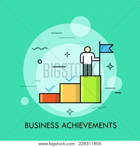 Person Standing On The Upper Step Of Stairs And Holding Flag. Concept Of Business Goal Achievement,