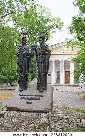 Sevastopol, Crimea - June 13, 2014: The Monument To Cyril And Methodius In Front Of The Peter And Pa