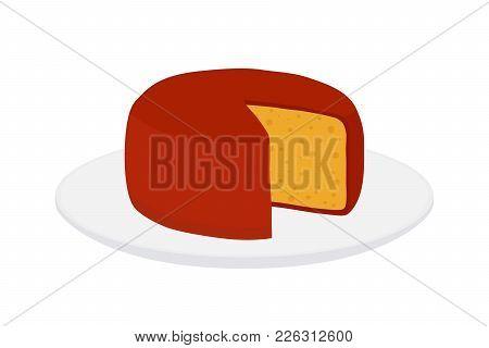 Vector Gouda Cheese Block On Plate. Slice, Chunk On Porcelain Tray In Cartoon Flat Style. Farm Marke