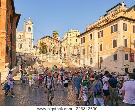 Rome - August 4: Spanish Steps On Piazza Di Spagna With Tourists In A Summer Hot Day August 4, 2017