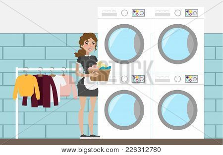 Laundry At Hotel With Maid And Clothes.