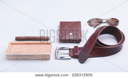 Men's Accessories For Business And Rekreation. A Professional Studio Photograph Of Men's Business Ac