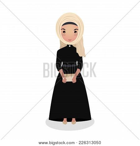 Muslim Girl Wearing A Long Black Dress. Evening Outfit. Young Woman Going On A Date. Elegant Gown. B