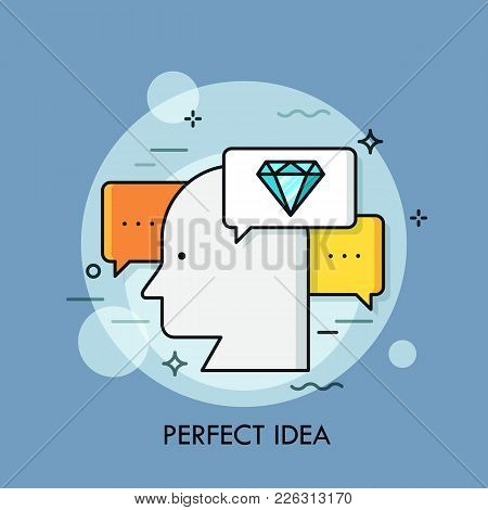 Silhouette Of Human Head Surrounded By Speech Bubbles And Diamond Symbol. Concept Of Perfect Idea Ge