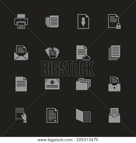 Documents Icons - Gray Symbol On Black Background. Simple Illustration. Flat Vector Icon.