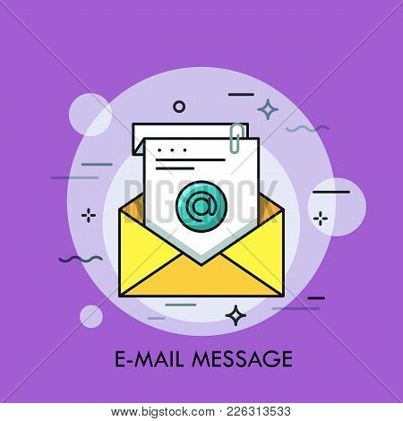 Yellow Envelop And White Sheet Of Paper With At Symbol On It. Concept Of E-mail Message, Electronic