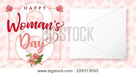 Happy Womens Day Rose Flower And Hearts Greeting Card. Lettering Invitations For The International W