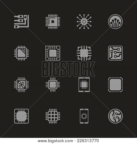 Electronics Icons - Gray Symbol On Black Background. Simple Illustration. Flat Vector Icon.